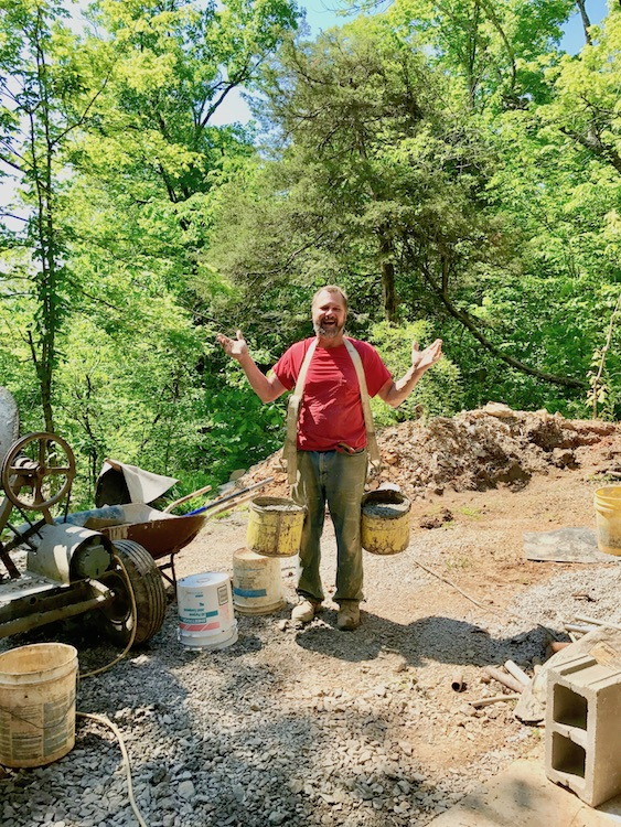 65 lb buckets (each) of concrete for steps in the cave.